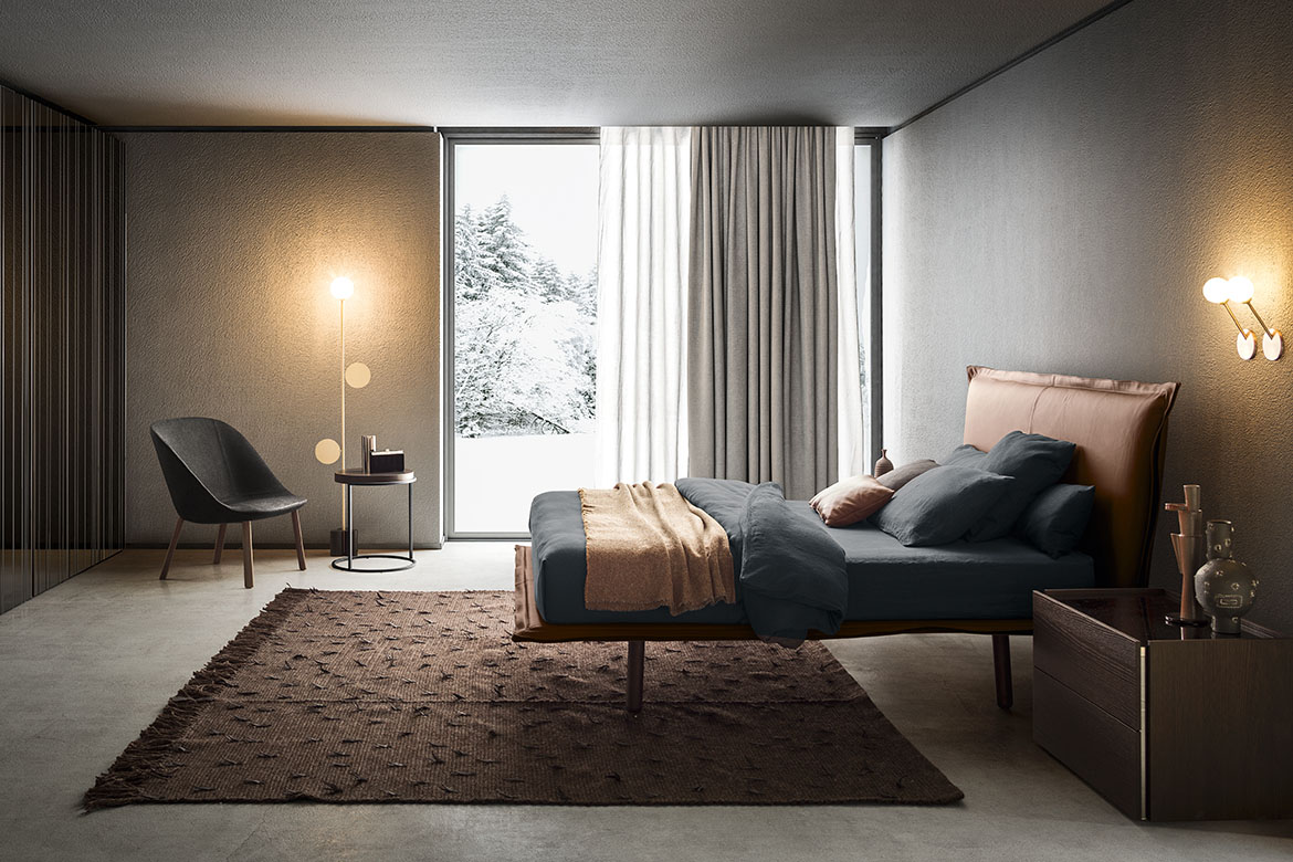 aladino upholstered bed with wood legs, altante night unit, teseo rug made in italy by tessoria asolana for Pianca