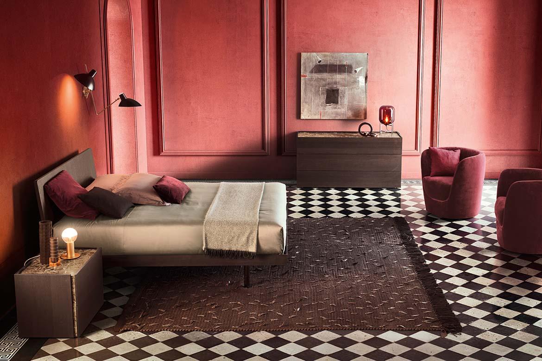 Alfa bed, oplà red armchairs, atlante casegoods pianca ulisse rug tessoria asolana