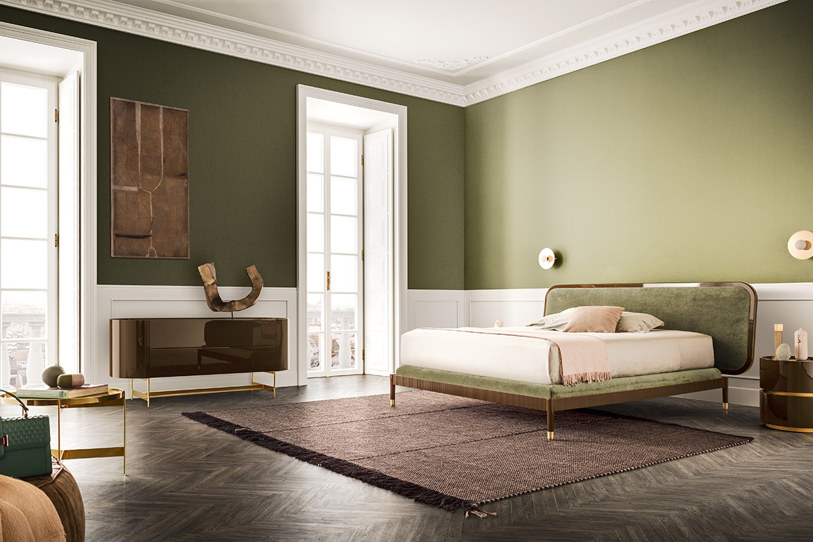 Amante bed with upholstered headboard Ulisse rug made by tessoria asolana