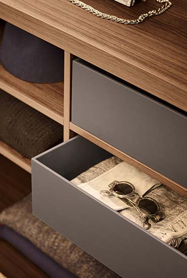 detail of box of suspended cubbies closet systems Pianca
