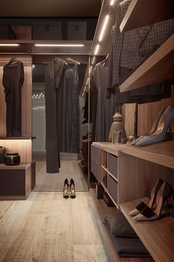 Anteprima cabina armadio su misura in legno Pianca
