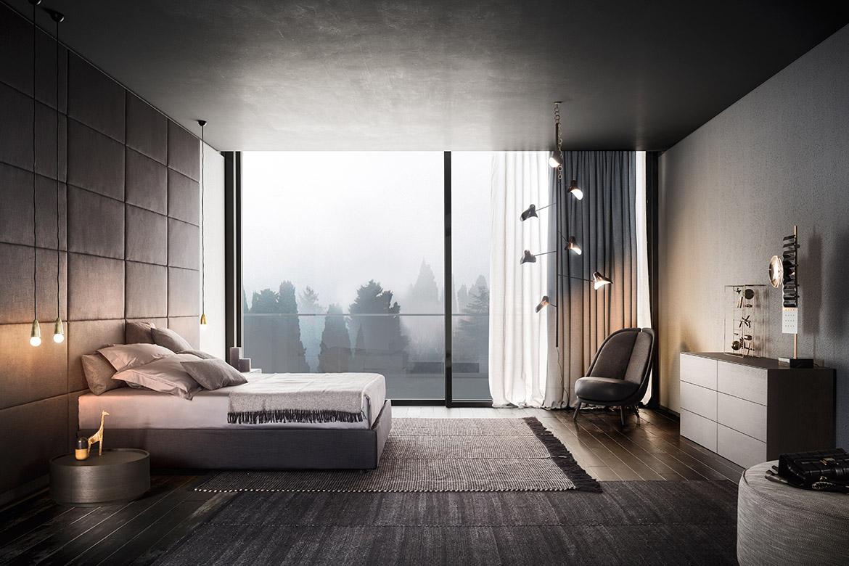 camera da letto matrimoniale con letto contenitore in tessuto sfoderabile pianca