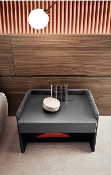 chloe drawer unit in matt lacquer grey structure in fabric cover emmanuel gallina per pianca