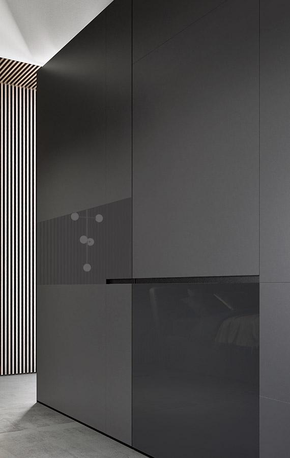 armadio con anta scorrevole in vetro lucido e satinato color lavagna Pianca