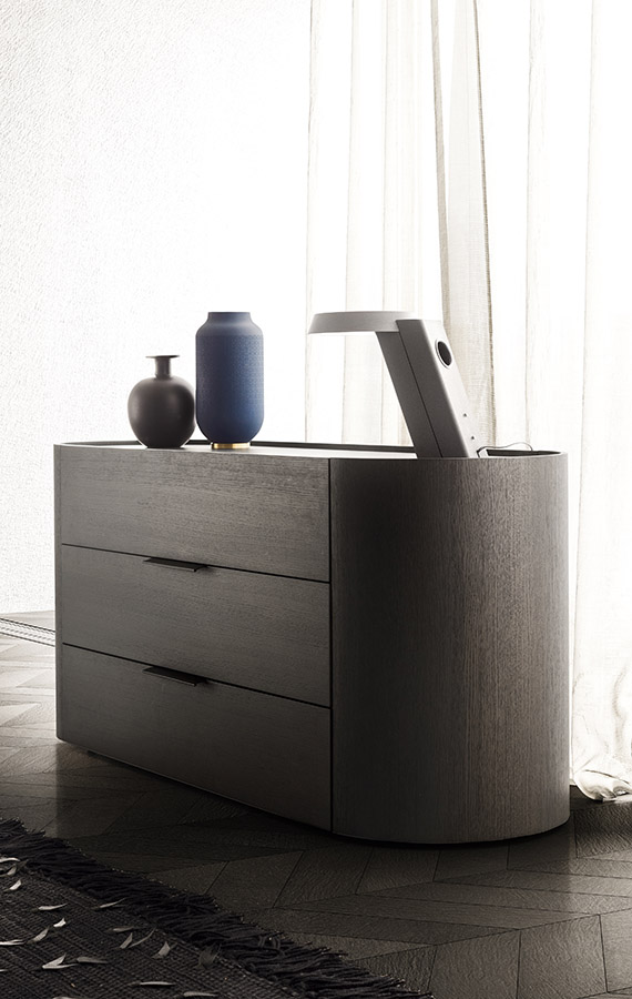 casegood with 3 drawers, leather handle and wood structure rovere grigio Pianca