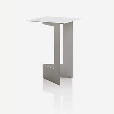 tavolino in metallo ecosostenibile quadrato bianco design Tim Kerp per pianca