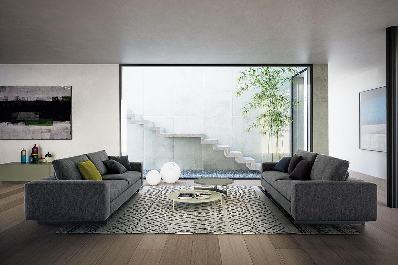Duo divano in tessuto sfoderabile con poggiatesta girevole, gambe a slitta in metallo, abaco tavolino con piano removibile in laccato opaco verde e bianco