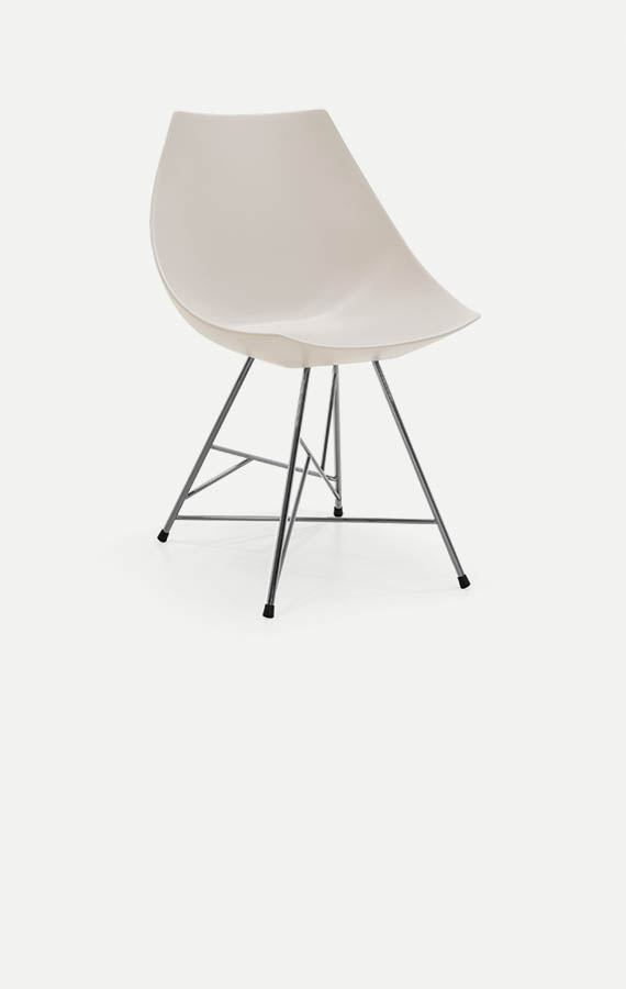 sedia gamma con seduta in poliuretano bianco con gambe in tubolare pianca