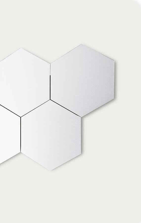specchio esagonale per fissaggio a muro con luce perimetrale con accensione touch