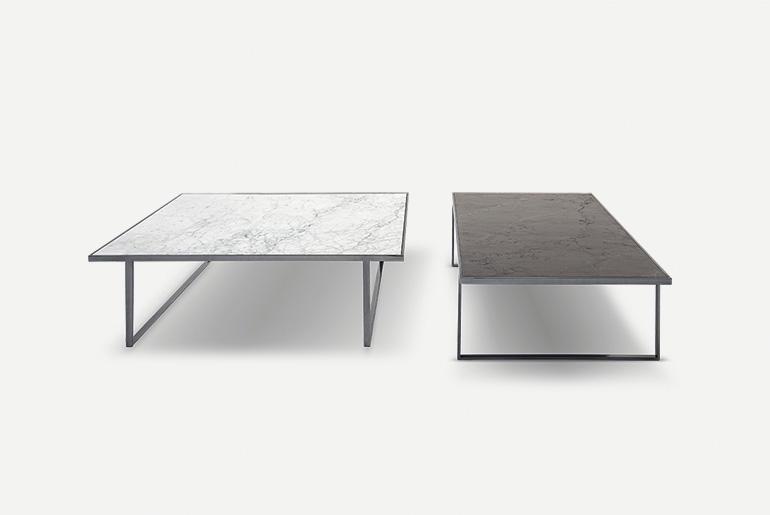 tavolini con piano in pietra, marmo, legno, vetro trasparente, vetro laccato con struttura in metallo nei colori oro, bronzo, rame, argento, cromo