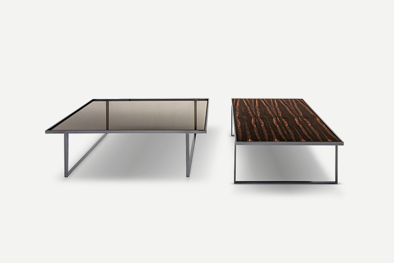 coffetable with top in wood, glass, lacquered glass, marble, slates