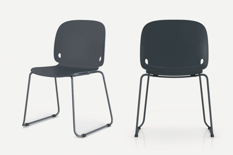 intro chair with sled feet and stackable