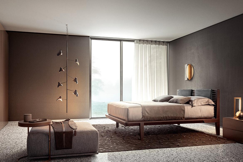 camera dal letto moderna di design con mobili in legno Pianca