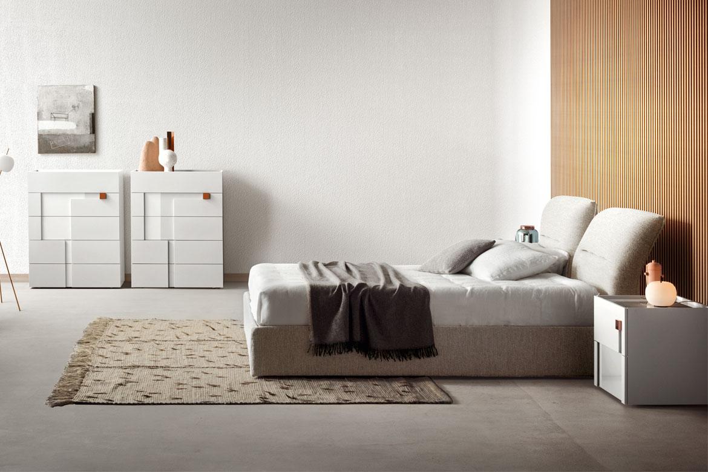 logos white casegoods designed by Calvi Brambilla and vintage bed with storage base Pianca, teseo rug tessoria asolana