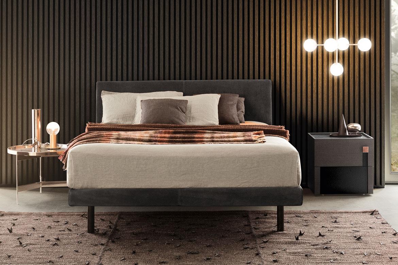 modern italian leather bed beta and logos casegood