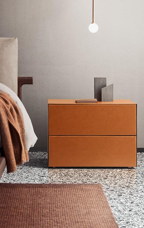 drawer unit in leather orange Pianca
