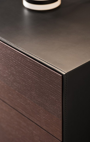modern italian night stands in leather cover and wood drawers Pianca