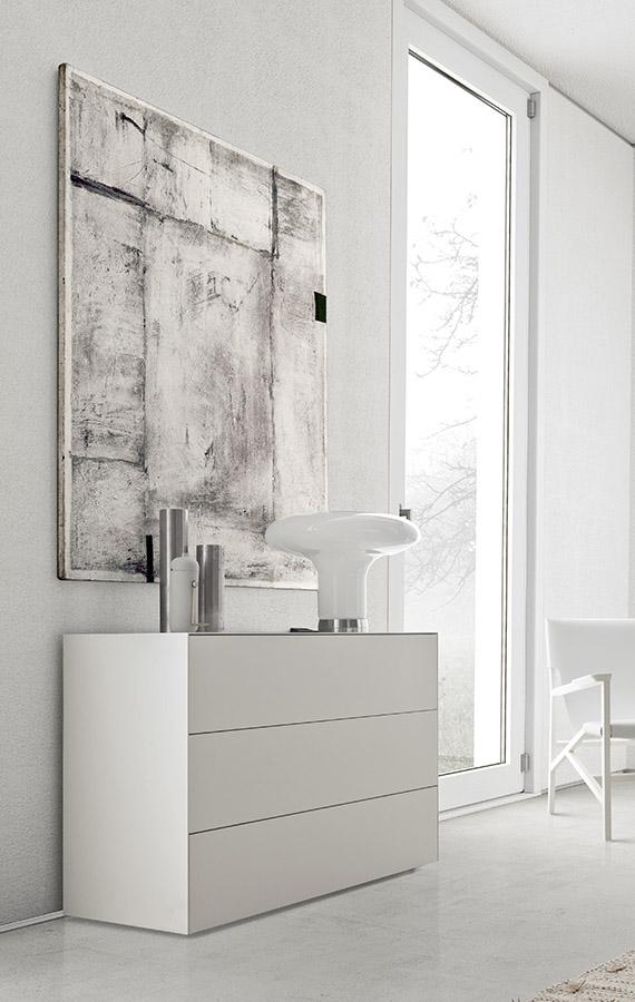 white lacquered matt modern casegood Pianca