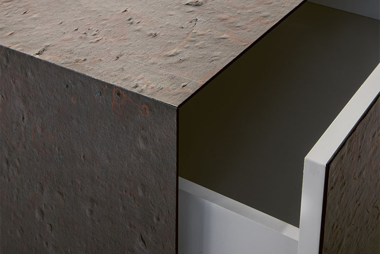 detail of drawer unit with slate cover