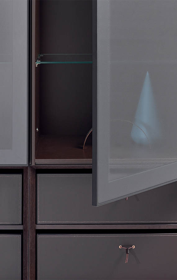 anta in vetro trasparente per mobile soggiorno