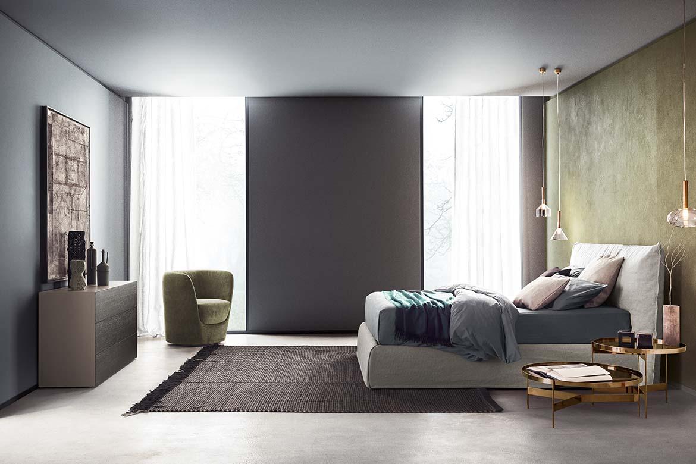 modern italian fabric bed, oplà green armchair pianca