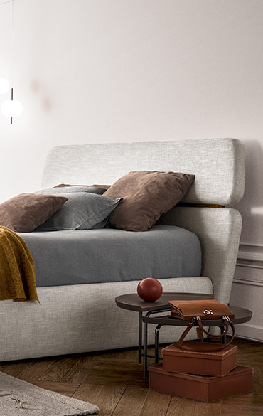 letto moderno in tessuto made in italy Pianca