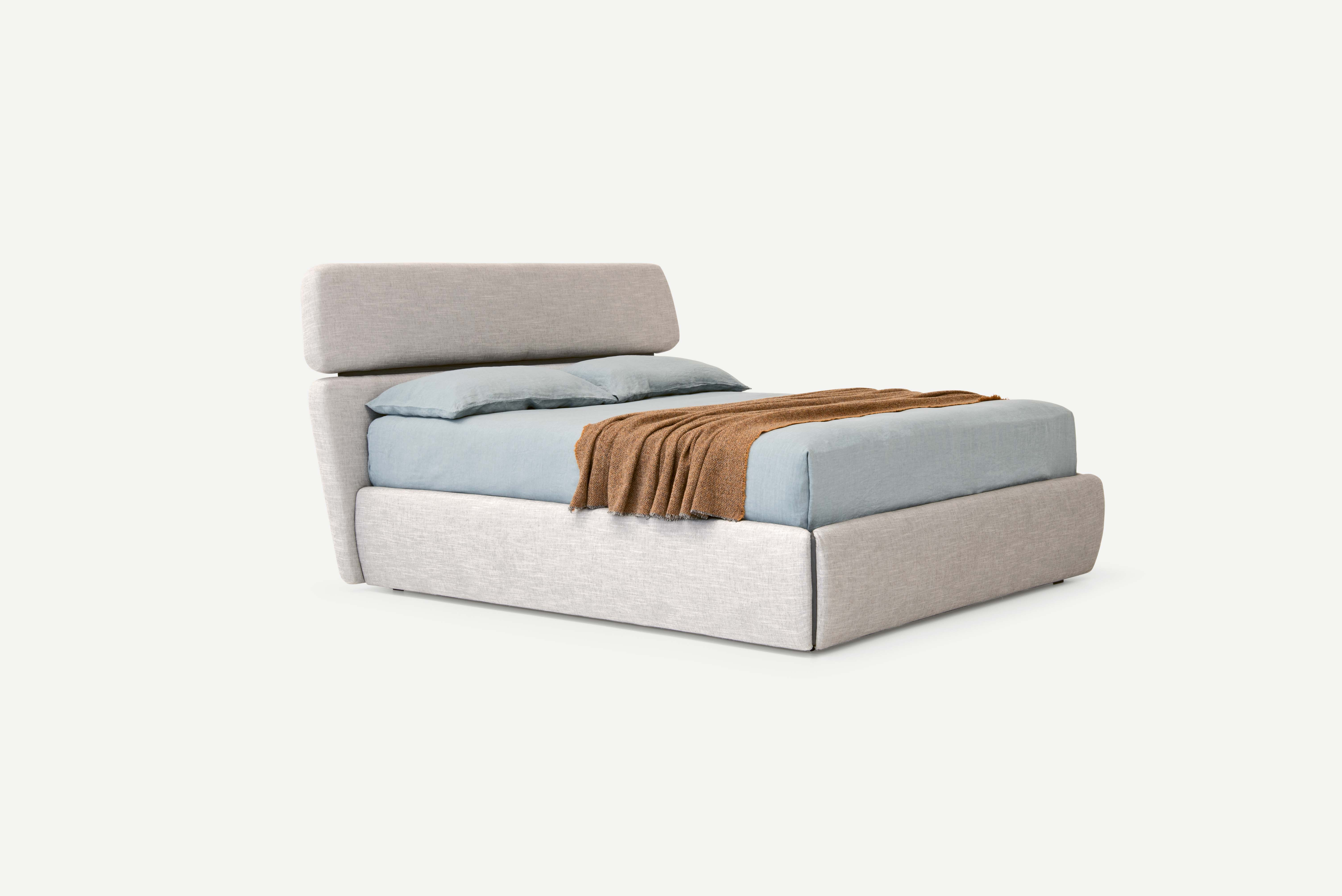 Rialto bed with storage base and upholstered bedframe and straight headboard design Emmanuel Gallina