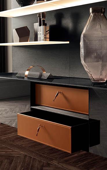 contenitori in cuoio siena colore arancione per moduli a giorno