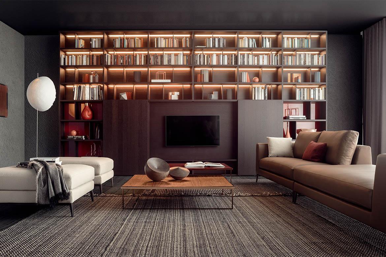libreria modulare personalizzabile su misura con ante in legno scorrevoli e luce led