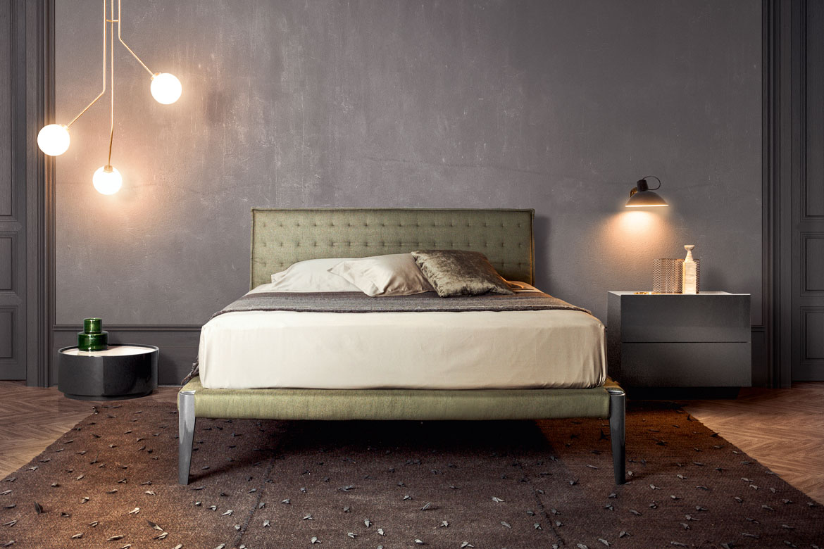 Spillo in solid wood bed with headboard and framebed fabric cover, dedalo round casegood Pianca
