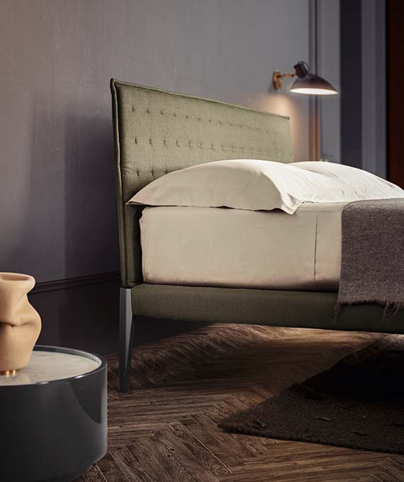spillo modern italian bed with removible cover fabric pianca