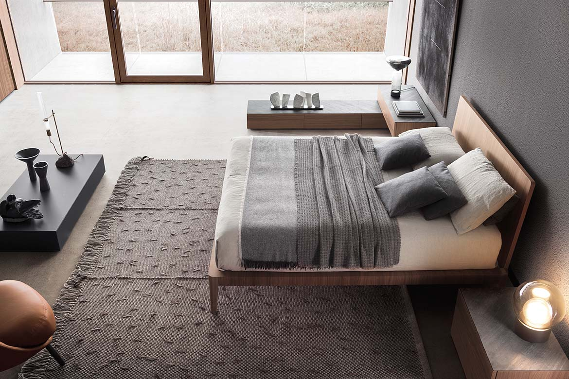 spillo modern italian wooden bed and spazio casegood with slate top