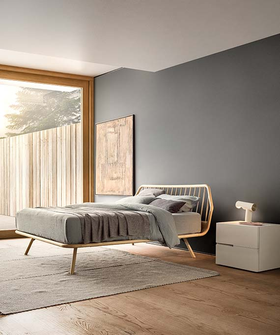 trama wooden bed in rovere naturale and segno casegood pianca