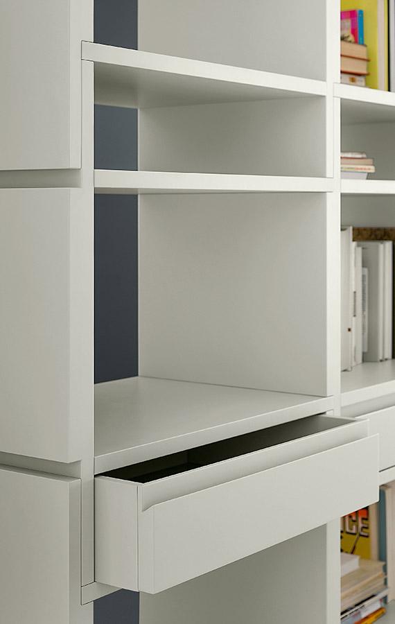 libreria moderna bifacciale con cassetti unless design ferruccio laviani pianca