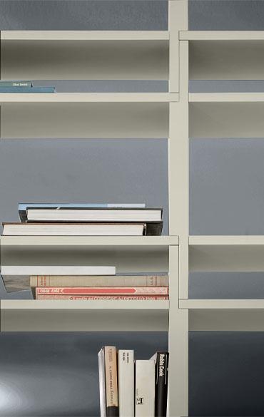 dettaglio moduli sovrapposti componibili senza ferramenta libreria moderna grigio nuvola pianca