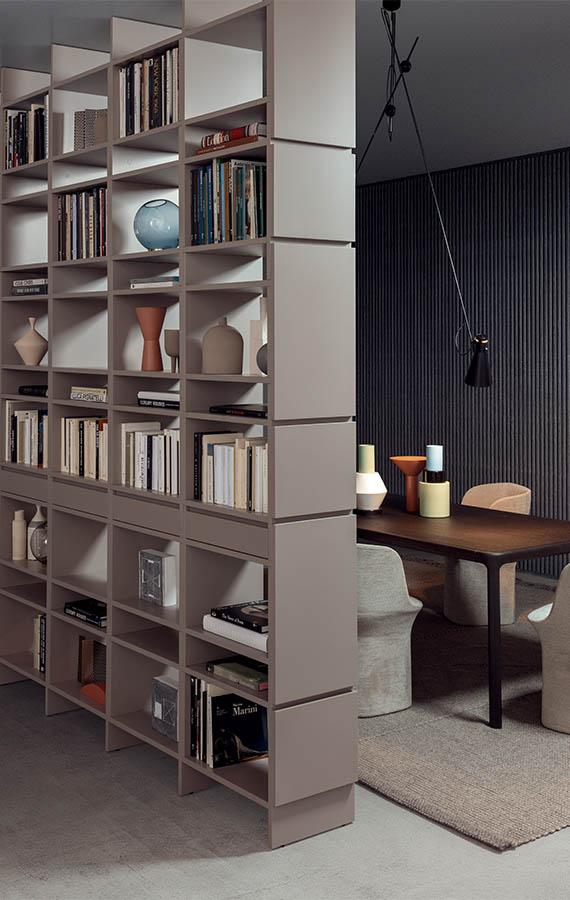 libreria modulare componibile bifacciale da centro stanza con cassetti design ferruccio laviani per pianca