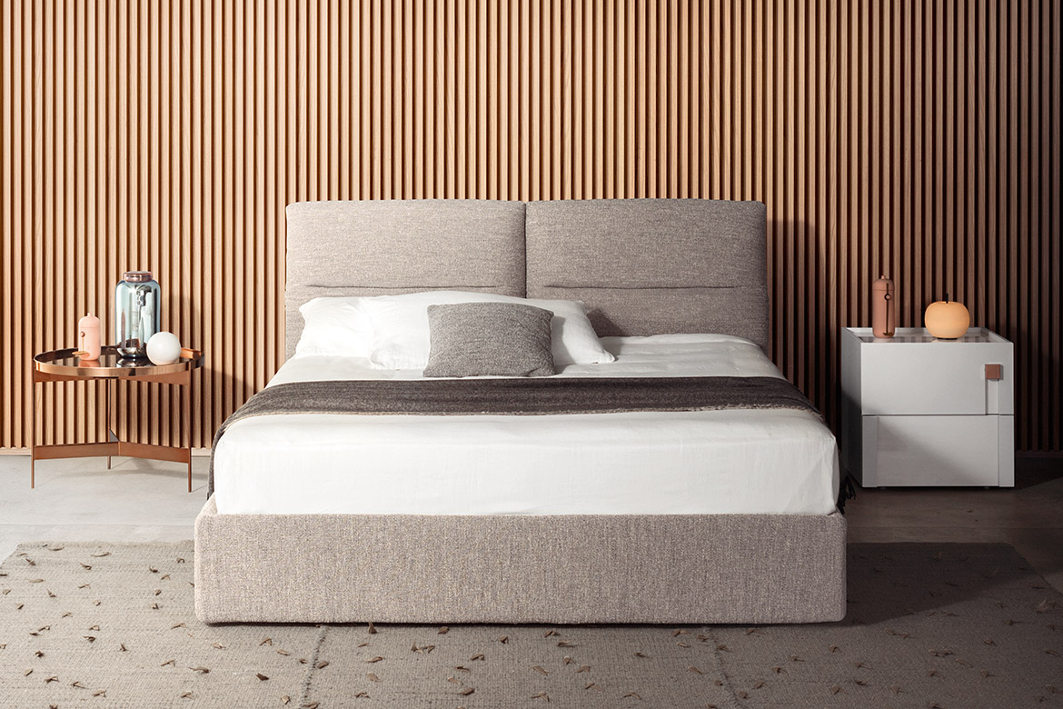 upholstered bed with storage base in removable fabric cover Pianca