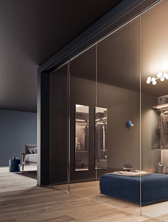 ante di chiusura vista in vetro trasparente decorato con serigrafia realizzabile su misura per cabine armadio moderne Pianca