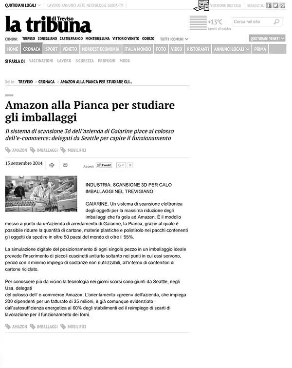 2014 Amazon è in visita a Pianca per studiare i suoi imballaggi innovativi: l'uso di cartone, plastica e polistirolo viene ridotto del 95%