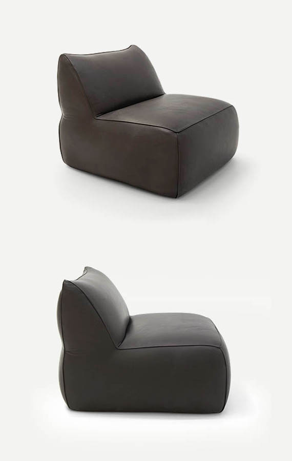 eden armchair in leather cover pianca