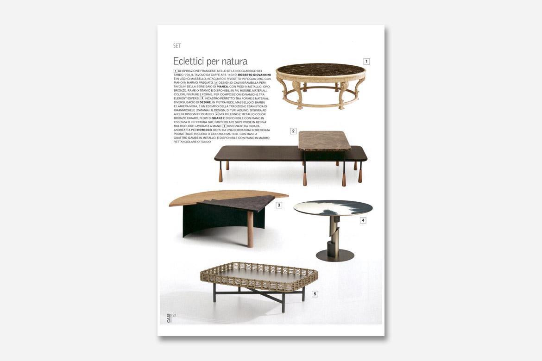 case & stili rivista menziona i tavolini baio disegnati da calvi brambilla per salone del mobile Pianca