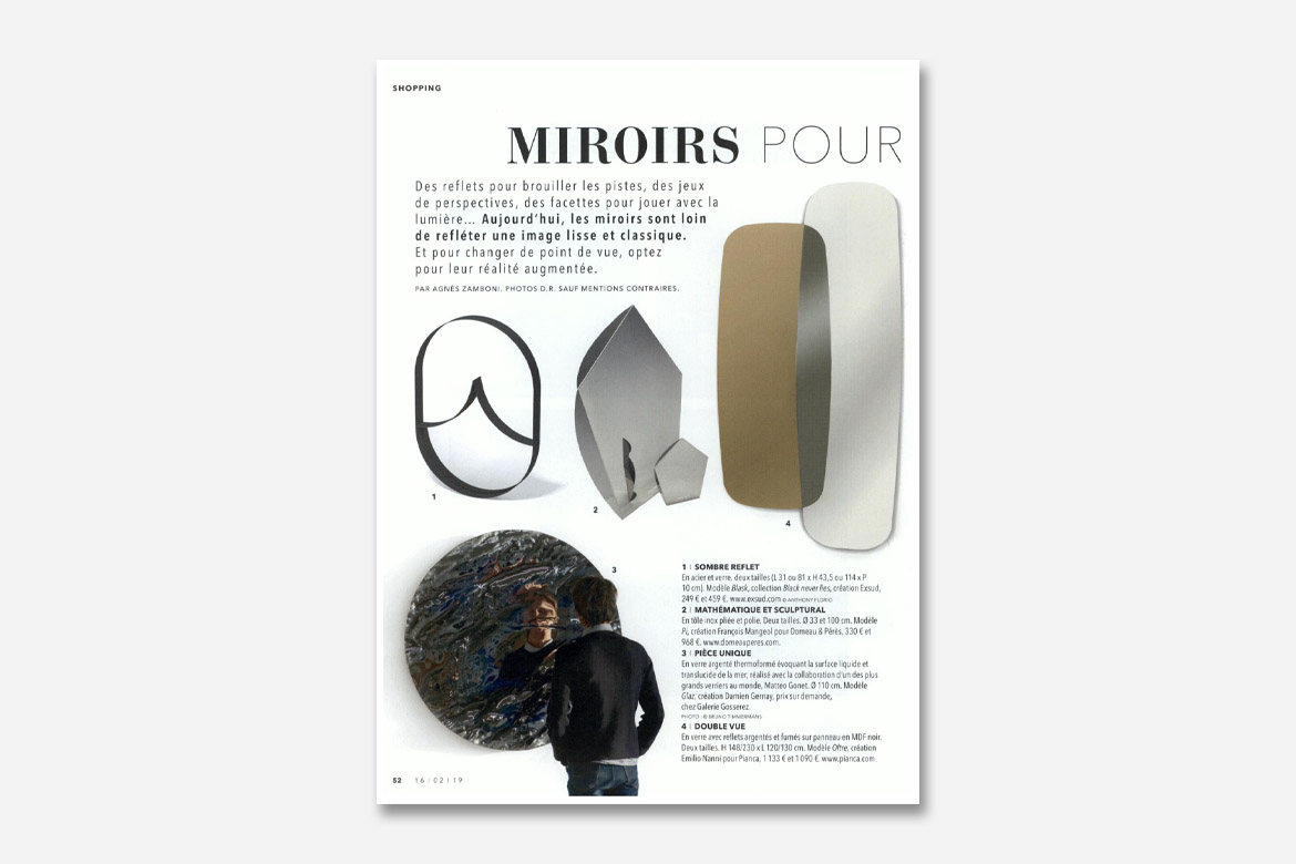 magazine so soir mirror oltre design Emilio Nanni per Pianca