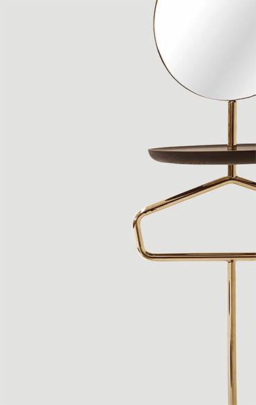 vallet stand with mirror and hanger in bronzo color design cmp studio pianca
