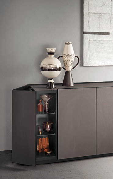 cornice sideboard with doors in synthetic leather pianca