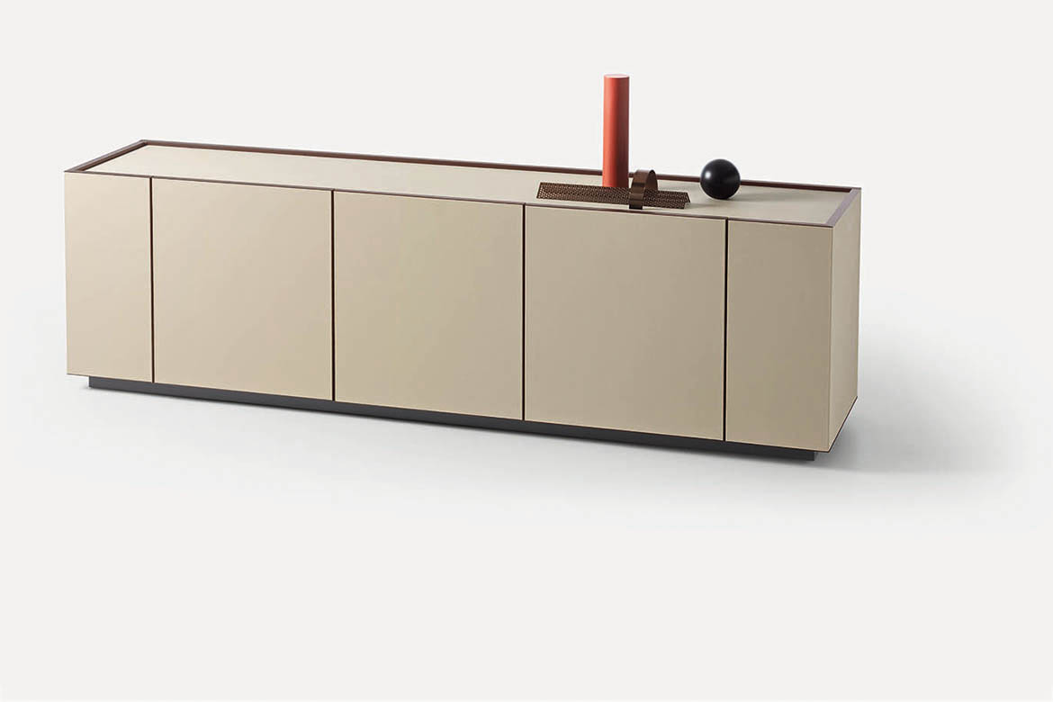 sideboard with doors in white synthetic leather pianca