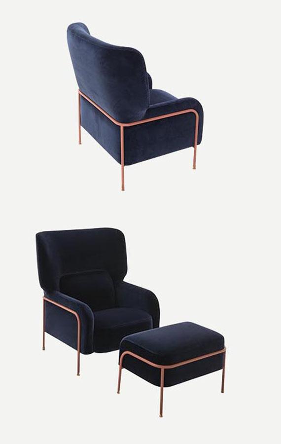 platea armchair with blue velvet cover