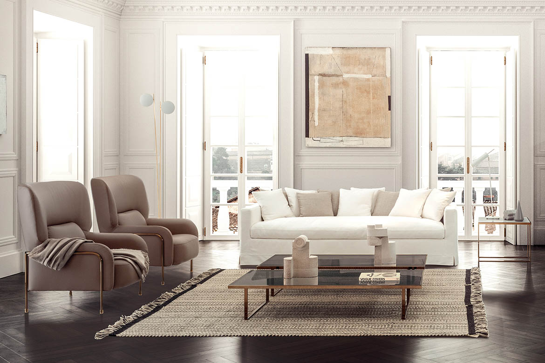 pianca livingroom with otto sofa with white fabric cover, icaro coffetable, teseo carpet tessoria asolana, platea armchair designed by Emilio Nanni per pianca