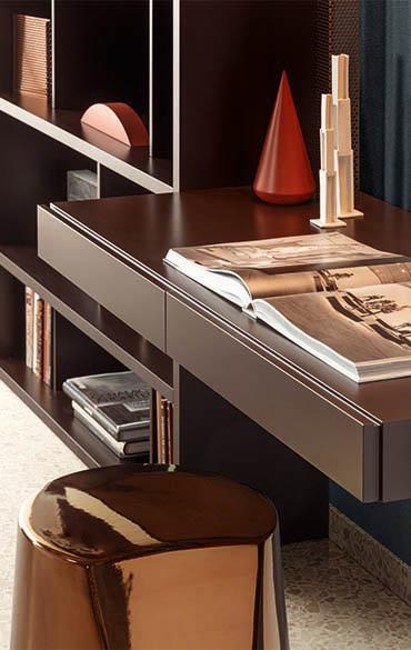 scrittoio integrabile con armadi e librerie pianca