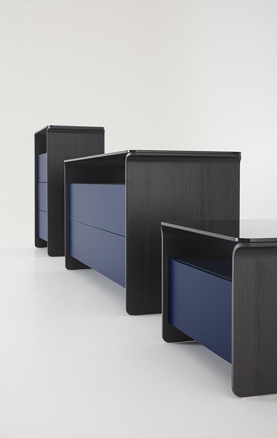 cassettiera, comò, comodini, settimanale Nota, design by Philippe Tabet