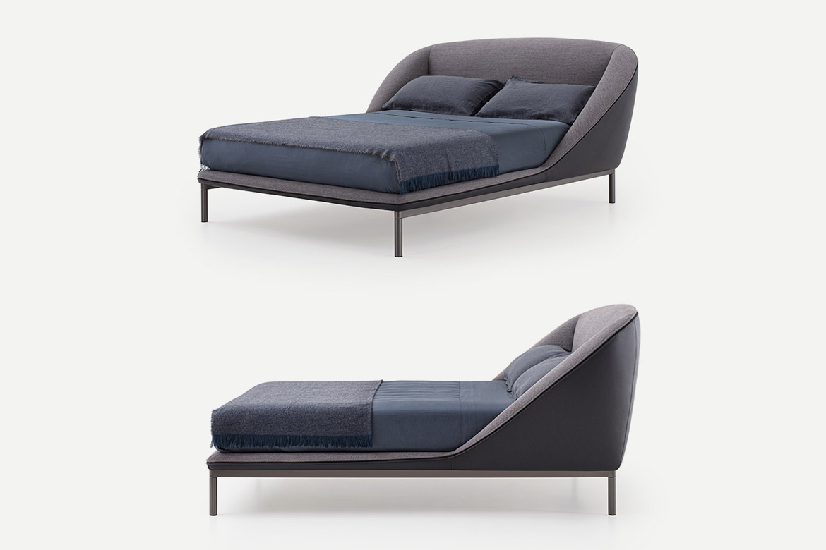 Pianca Domenica bed, with upholestered tall bedframe or metal feet, betframe and enveloping headboard in fabric. leather and synthetic leather